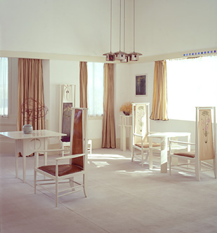 Photo of the drawing room, The Mackintosh House, Hunterian Art Gallery