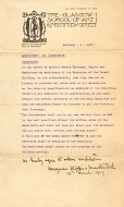 Colour photograph of conditions of appointment of Honeyman, Keppie & Mackintosh, signed by Mackintosh, 1907