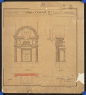Scan of drawing of Memorial to Dr William Chrystal in Glasgow Cathedral; Plan, front and side elevations