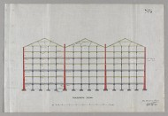 Scan of drawing of Grain stores, Cheapside Street;  Longitudinal section