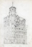B/W perspective sketch of Glasgow Herald building