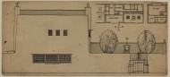 Scan of Colour drawing of Design for an artist's house and studio in the country; Ground and first--floor plans; S. elevation