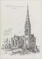 Reproduction of perspective by T. Raffles Davison of Coats Memorial Church, Paisley, from 'British Architect', 21 August 1886